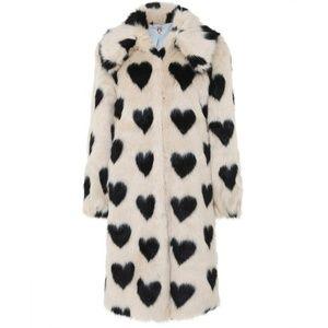 Brand new faux fur black hearts coat